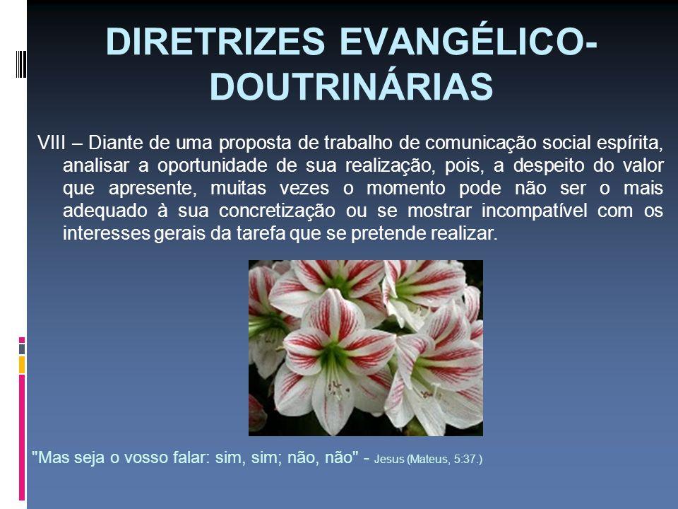 DIRETRIZES EVANGÉLICO- DOUTRINÁRIAS VIII – Diante de uma proposta de trabalho de comunicação social espírita, analisar a oportunidade de sua realizaçã