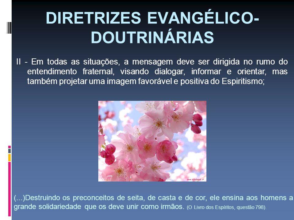 DIRETRIZES EVANGÉLICO- DOUTRINÁRIAS II - Em todas as situações, a mensagem deve ser dirigida no rumo do entendimento fraternal, visando dialogar, info
