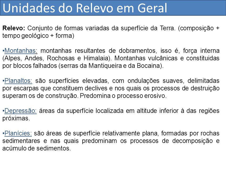 Unidades do Relevo em Geral Relevo: Conjunto de formas variadas da superfície da Terra. (composição + tempo geológico + forma) Montanhas: montanhas re