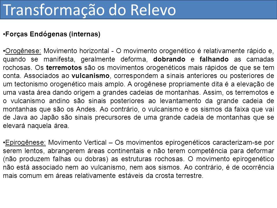 Transformação do Relevo Forças Endógenas (internas) Orogênese: Movimento horizontal - O movimento orogenético é relativamente rápido e, quando se mani