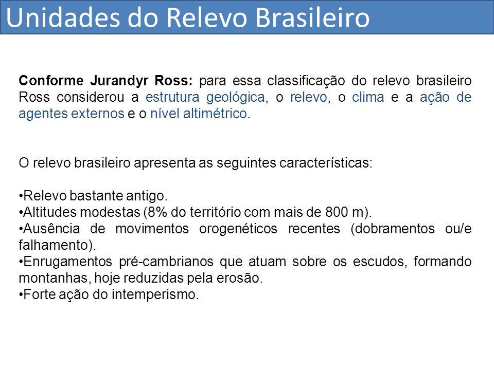 Unidades do Relevo Brasileiro Conforme Jurandyr Ross: para essa classificação do relevo brasileiro Ross considerou a estrutura geológica, o relevo, o