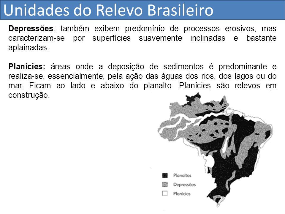 Unidades do Relevo Brasileiro Depressões: também exibem predomínio de processos erosivos, mas caracterizam-se por superfícies suavemente inclinadas e