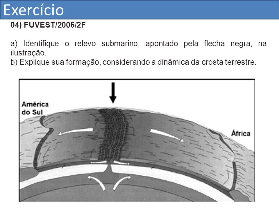 Exercício 04) FUVEST/2006/2F a) Identifique o relevo submarino, apontado pela flecha negra, na ilustração. b) Explique sua formação, considerando a di