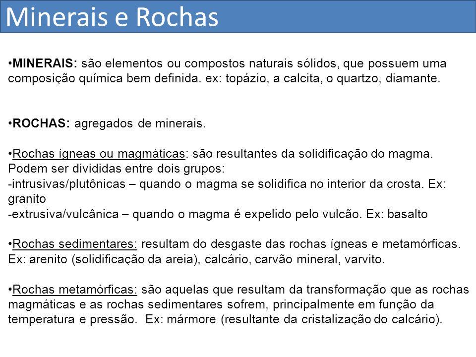 Estrutura Geológica do Brasil Escudos cristalinos – 36% Bacias Sedimentares – 64%