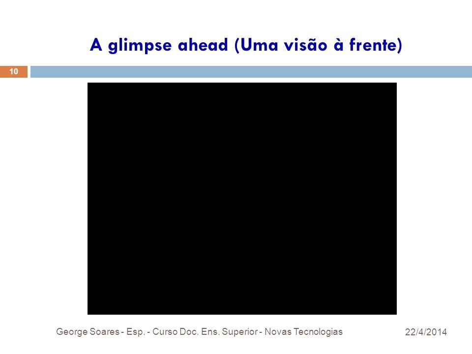 A glimpse ahead (Uma visão à frente) 22/4/2014 George Soares - Esp.