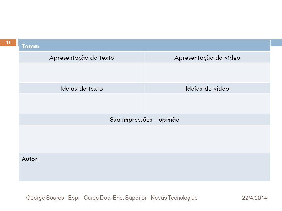 Tema: Apresentação do textoApresentação do vídeo Ideias do textoIdeias do vídeo Sua impressões - opinião Autor: 22/4/2014 George Soares - Esp.