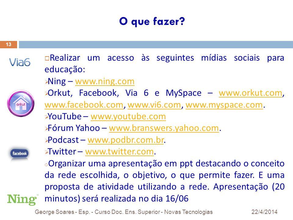 O que fazer.22/4/2014George Soares - Esp. - Curso Doc.