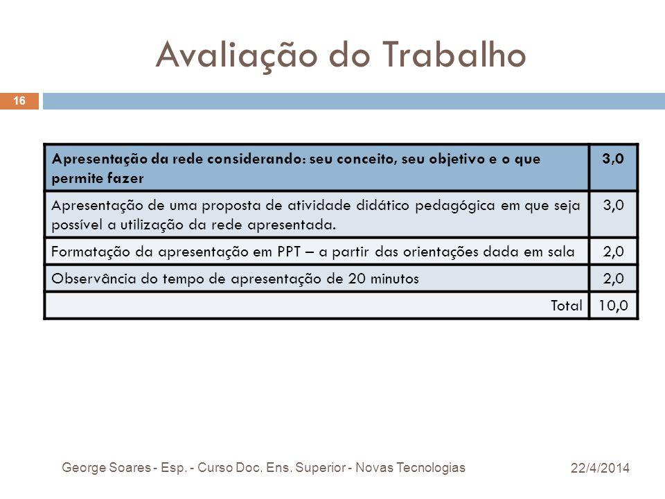 Avaliação do Trabalho Apresentação da rede considerando: seu conceito, seu objetivo e o que permite fazer 3,0 Apresentação de uma proposta de atividade didático pedagógica em que seja possível a utilização da rede apresentada.