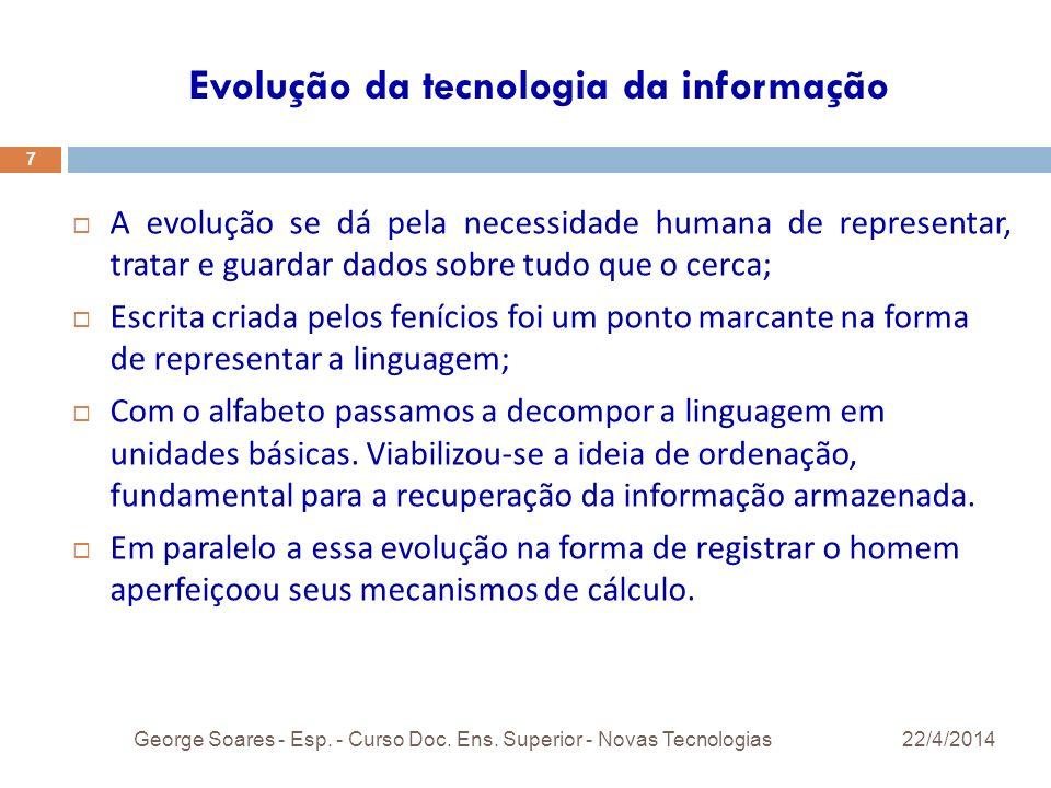 Evolução da tecnologia da informação 22/4/2014George Soares - Esp.