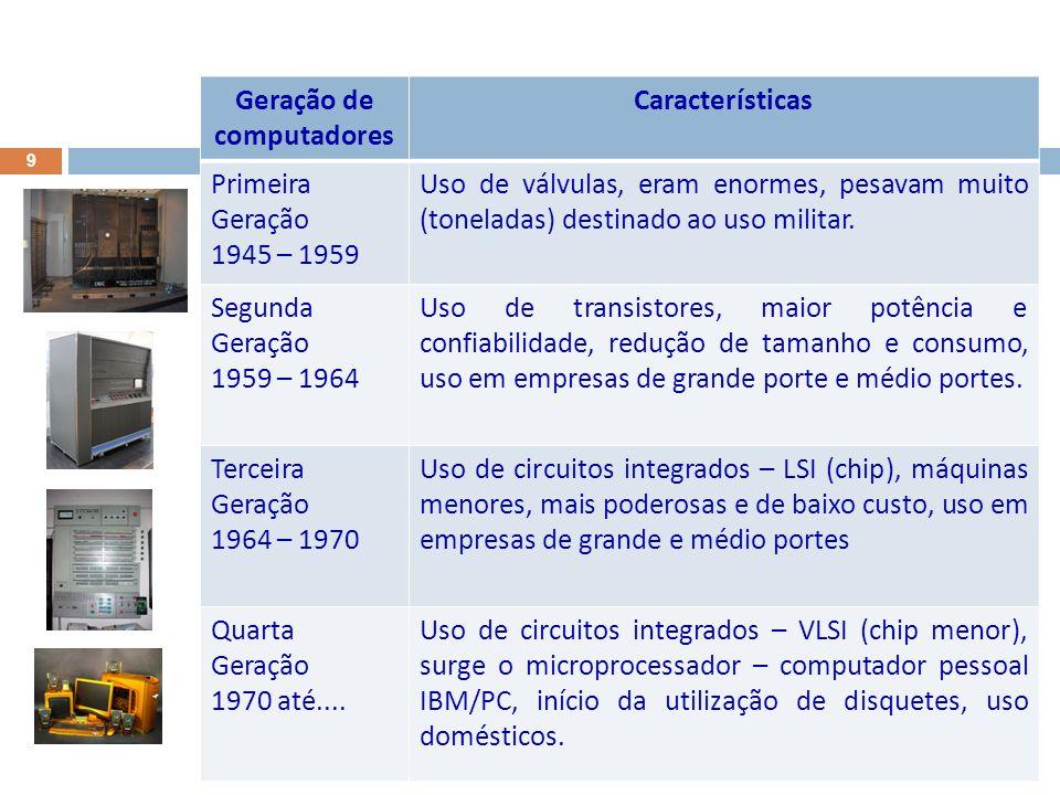 9 Geração de computadores Características Primeira Geração 1945 – 1959 Uso de válvulas, eram enormes, pesavam muito (toneladas) destinado ao uso militar.