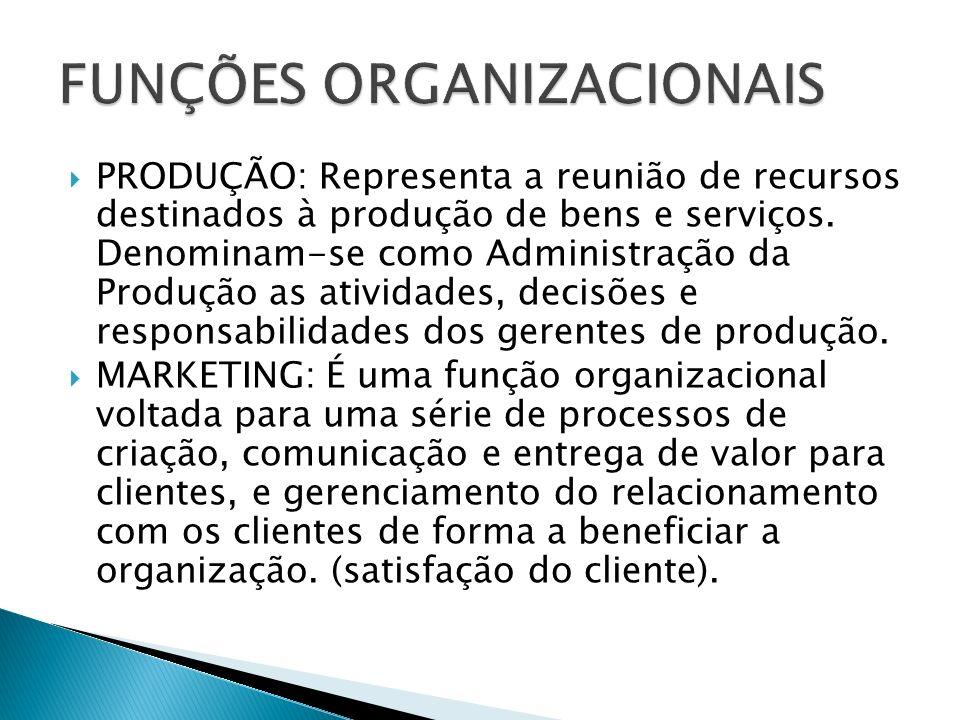 PRODUÇÃO: Representa a reunião de recursos destinados à produção de bens e serviços. Denominam-se como Administração da Produção as atividades, decisõ
