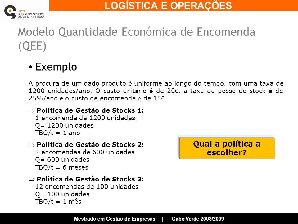 LOGÍSTICA E OPERAÇÕES Mestrado em Gestão de Empresas | Cabo Verde 2008/2009 Modelo Quantidade Económica de Encomenda (QEE) Exemplo A procura de um dado produto é uniforme ao longo do tempo, com uma taxa de 1200 unidades/ano.