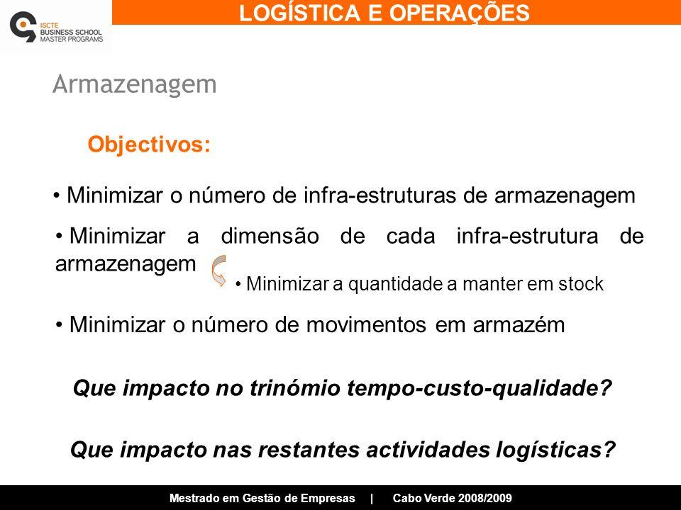 LOGÍSTICA E OPERAÇÕES Mestrado em Gestão de Empresas | Cabo Verde 2008/2009 Armazenagem Minimizar o número de infra-estruturas de armazenagem Minimizar o número de movimentos em armazém Minimizar a dimensão de cada infra-estrutura de armazenagem Objectivos: Que impacto no trinómio tempo-custo-qualidade.