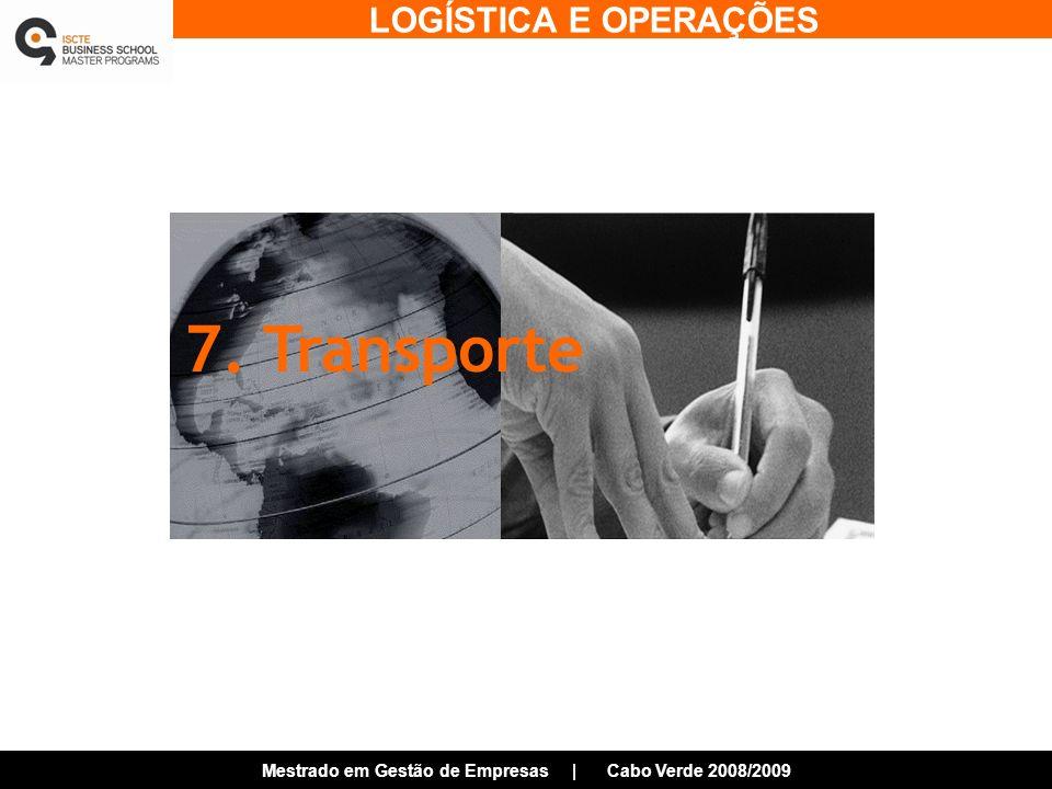LOGÍSTICA E OPERAÇÕES Mestrado em Gestão de Empresas | Cabo Verde 2008/2009 7. Transporte