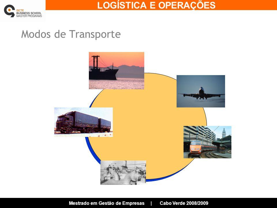 LOGÍSTICA E OPERAÇÕES Mestrado em Gestão de Empresas | Cabo Verde 2008/2009 Modos de Transporte