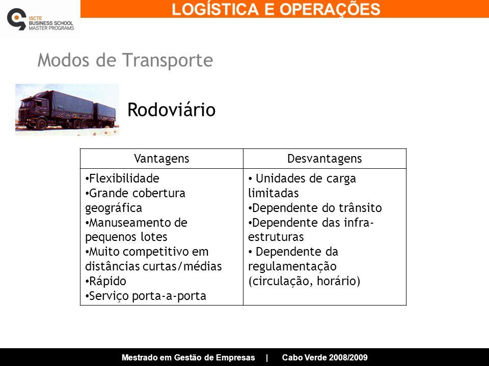 LOGÍSTICA E OPERAÇÕES Mestrado em Gestão de Empresas | Cabo Verde 2008/2009 Modos de Transporte Rodoviário VantagensDesvantagens Flexibilidade Grande cobertura geográfica Manuseamento de pequenos lotes Muito competitivo em distâncias curtas/médias Rápido Serviço porta-a-porta Unidades de carga limitadas Dependente do trânsito Dependente das infra- estruturas Dependente da regulamentação (circulação, horário)