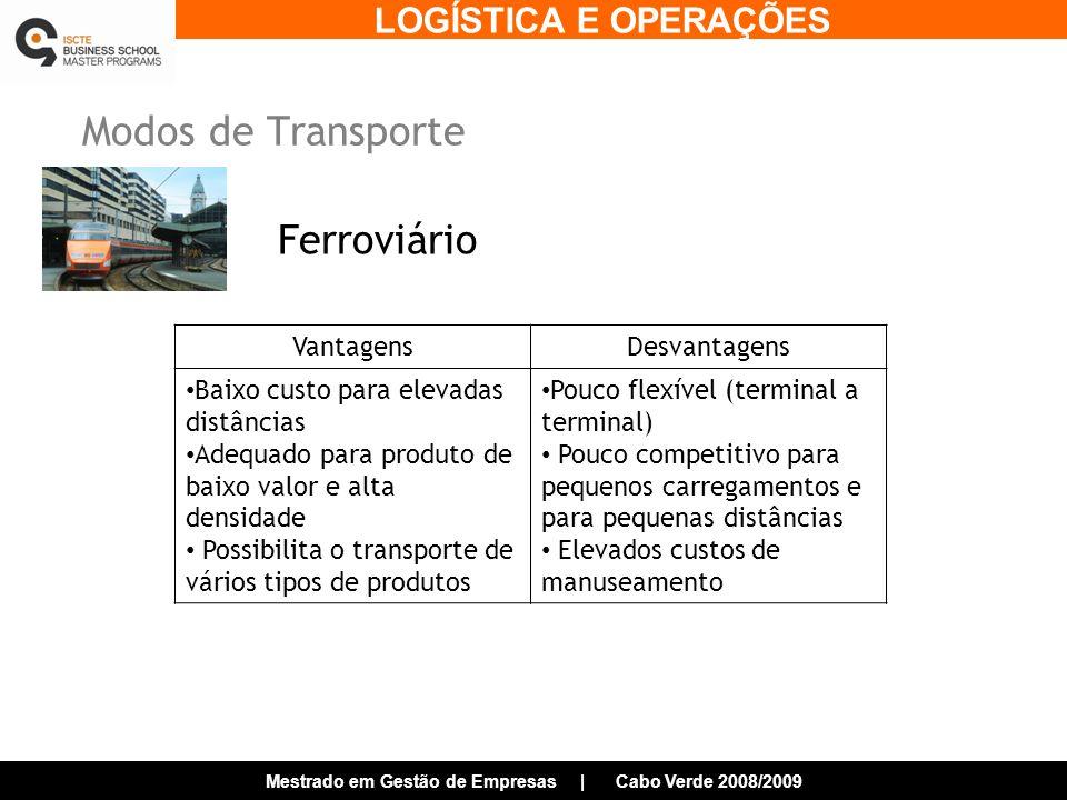LOGÍSTICA E OPERAÇÕES Mestrado em Gestão de Empresas | Cabo Verde 2008/2009 Modos de Transporte Ferroviário VantagensDesvantagens Baixo custo para elevadas distâncias Adequado para produto de baixo valor e alta densidade Possibilita o transporte de vários tipos de produtos Pouco flexível (terminal a terminal) Pouco competitivo para pequenos carregamentos e para pequenas distâncias Elevados custos de manuseamento