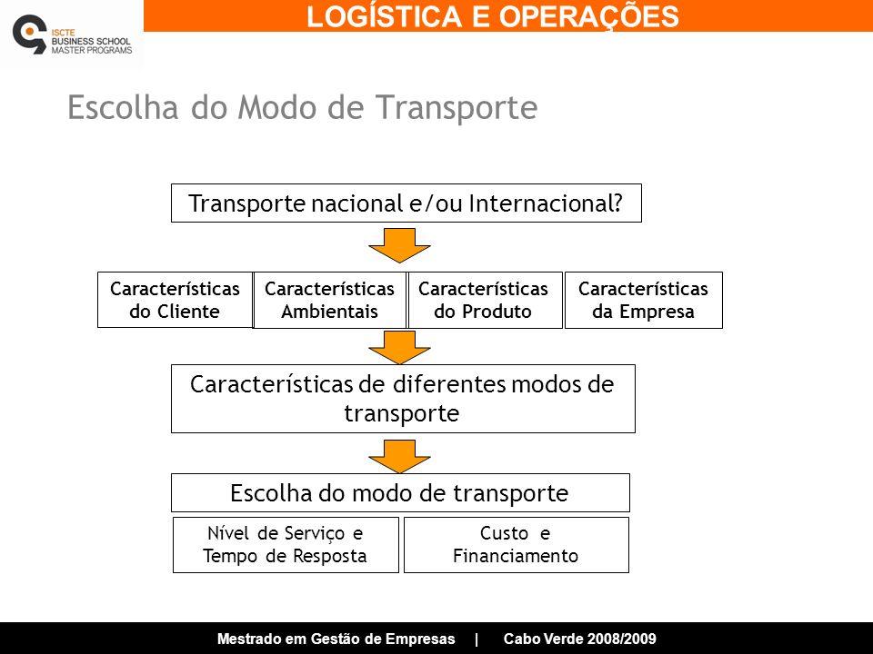 LOGÍSTICA E OPERAÇÕES Mestrado em Gestão de Empresas | Cabo Verde 2008/2009 Escolha do Modo de Transporte Transporte nacional e/ou Internacional.