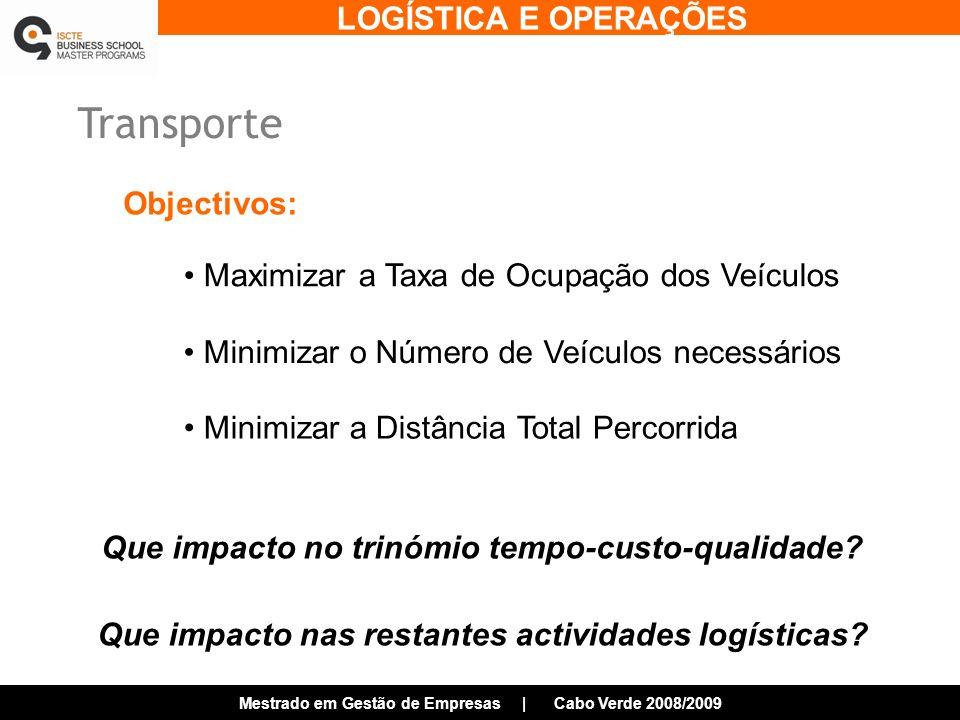 LOGÍSTICA E OPERAÇÕES Mestrado em Gestão de Empresas | Cabo Verde 2008/2009 Transporte Maximizar a Taxa de Ocupação dos Veículos Minimizar a Distância Total Percorrida Minimizar o Número de Veículos necessários Objectivos: Que impacto no trinómio tempo-custo-qualidade.