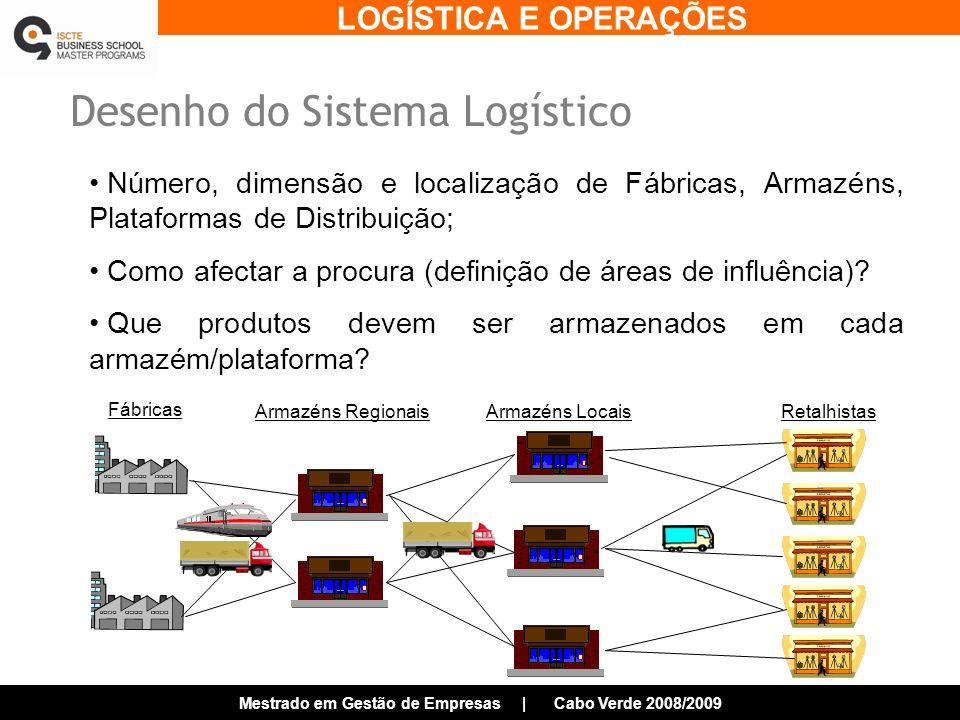 LOGÍSTICA E OPERAÇÕES Mestrado em Gestão de Empresas | Cabo Verde 2008/2009 Desenho do Sistema Logístico Número, dimensão e localização de Fábricas, Armazéns, Plataformas de Distribuição; Como afectar a procura (definição de áreas de influência).
