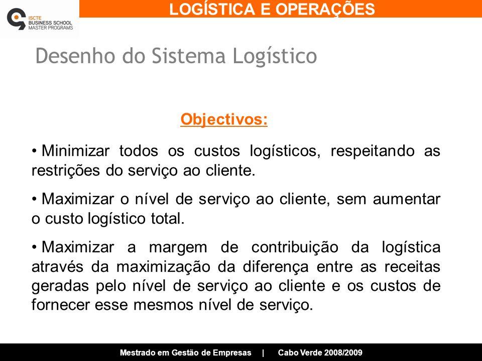 LOGÍSTICA E OPERAÇÕES Mestrado em Gestão de Empresas | Cabo Verde 2008/2009 Desenho do Sistema Logístico Objectivos: Minimizar todos os custos logísticos, respeitando as restrições do serviço ao cliente.