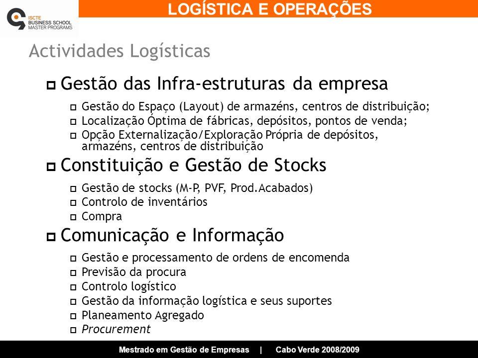 LOGÍSTICA E OPERAÇÕES Mestrado em Gestão de Empresas | Cabo Verde 2008/2009 Actividades Logísticas Gestão das Infra-estruturas da empresa Gestão do Espaço (Layout) de armazéns, centros de distribuição; Localização Óptima de fábricas, depósitos, pontos de venda; Opção Externalização/Exploração Própria de depósitos, armazéns, centros de distribuição Constituição e Gestão de Stocks Gestão de stocks (M-P, PVF, Prod.Acabados) Controlo de inventários Compra Comunicação e Informação Gestão e processamento de ordens de encomenda Previsão da procura Controlo logístico Gestão da informação logística e seus suportes Planeamento Agregado Procurement