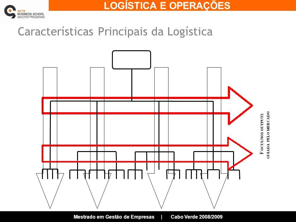 LOGÍSTICA E OPERAÇÕES Mestrado em Gestão de Empresas | Cabo Verde 2008/2009 Características Principais da Logística F OCUS NOS OUTPUTS GUIADA PELO MERCADO