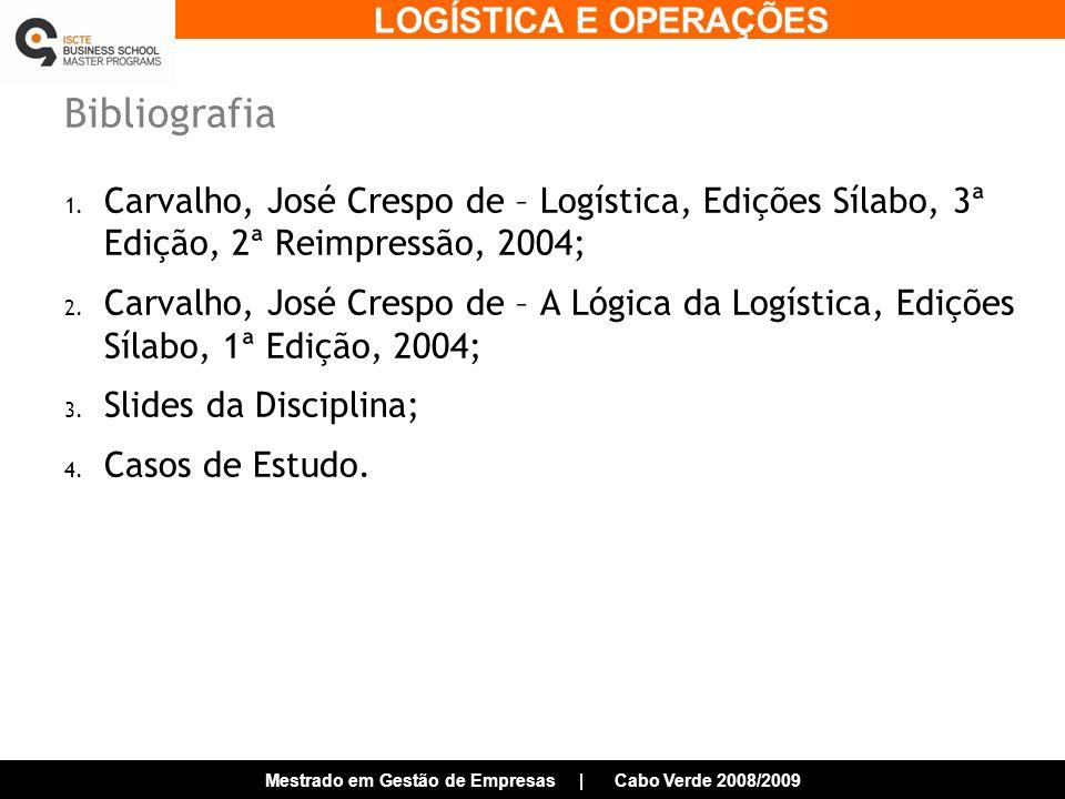 LOGÍSTICA E OPERAÇÕES Mestrado em Gestão de Empresas | Cabo Verde 2008/2009 Evolução do Conceito de Logística Previsão da Procura Compra Planeamento de Necessidades Planeamento Produção Stocks de Matérias-Primas Armazenagem Manuseamento Materiais Embalagem Stocks de Produto Acabado Planeamento de Distribuição Processamento de Encomendas Transporte Serviço ao Cliente Planeamento Estratégico Informação Marketing/Vendas Finanças Supply Chain Management Logística Distribuição Física Gestão de Materiais/ Compra Fragmentação das Actividades até 1960 Integração das Actividades 1960-2000 SCM +2000 Fonte: Ballou, R., Business Logístics/SCM, Pearson, 5ª Edição,2004
