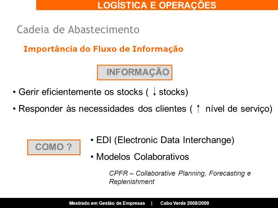 LOGÍSTICA E OPERAÇÕES Mestrado em Gestão de Empresas | Cabo Verde 2008/2009 Importância do Fluxo de Informação INFORMAÇÃO Gerir eficientemente os stocks ( stocks) Responder às necessidades dos clientes ( nível de serviço) COMO .