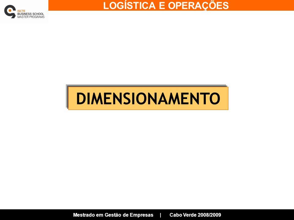 LOGÍSTICA E OPERAÇÕES Mestrado em Gestão de Empresas | Cabo Verde 2008/2009 DIMENSIONAMENTO