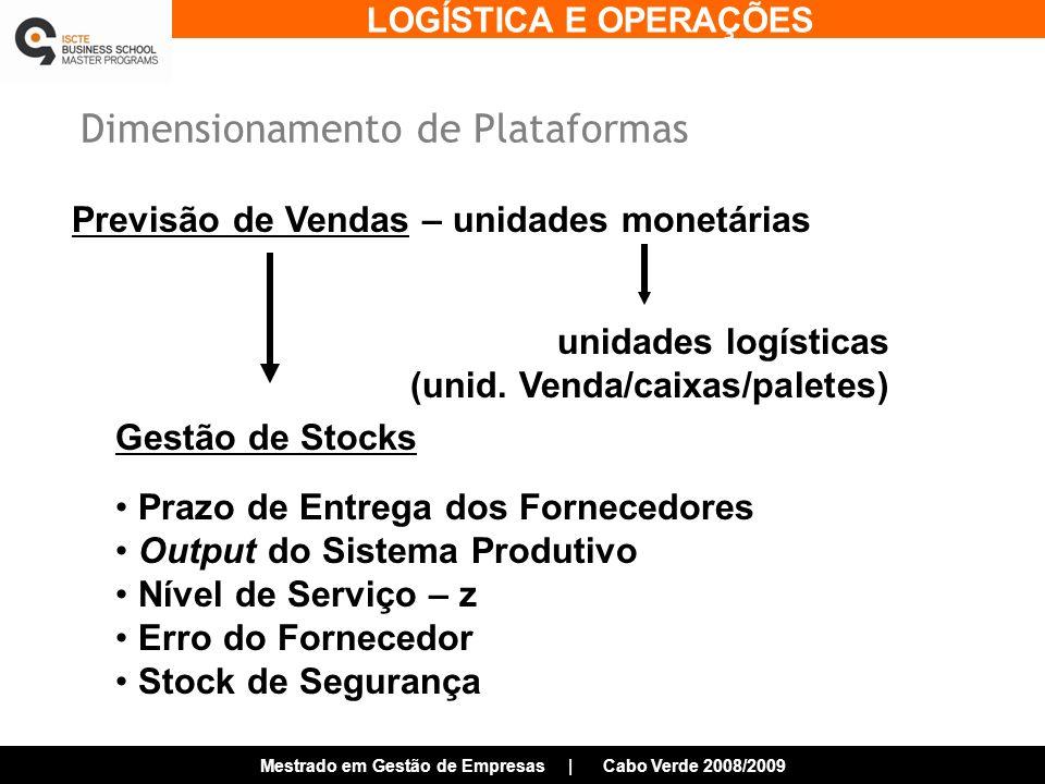LOGÍSTICA E OPERAÇÕES Mestrado em Gestão de Empresas | Cabo Verde 2008/2009 Dimensionamento de Plataformas Previsão de Vendas – unidades monetárias unidades logísticas (unid.