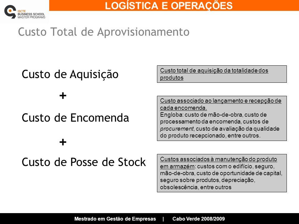 LOGÍSTICA E OPERAÇÕES Mestrado em Gestão de Empresas | Cabo Verde 2008/2009 Custo Total de Aprovisionamento Custo total de aquisição da totalidade dos produtos Custo associado ao lançamento e recepção de cada encomenda.