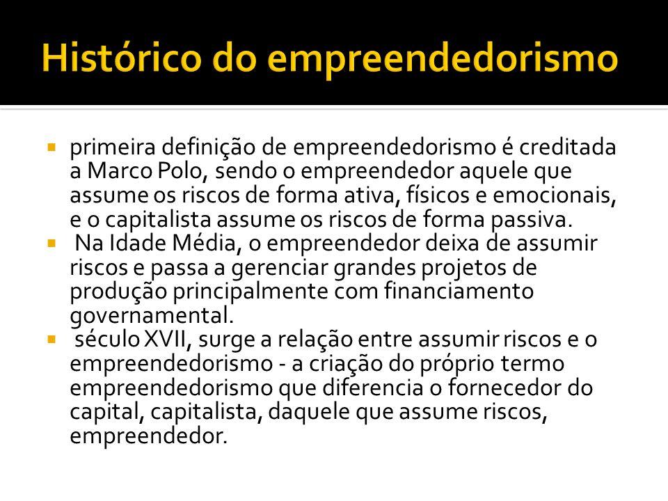 primeira definição de empreendedorismo é creditada a Marco Polo, sendo o empreendedor aquele que assume os riscos de forma ativa, físicos e emocionais