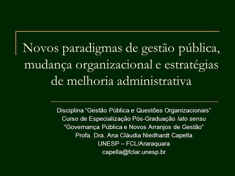 Novos paradigmas de gestão pública, mudança organizacional e estratégias de melhoria administrativa Disciplina Gestão Pública e Questões Organizaciona