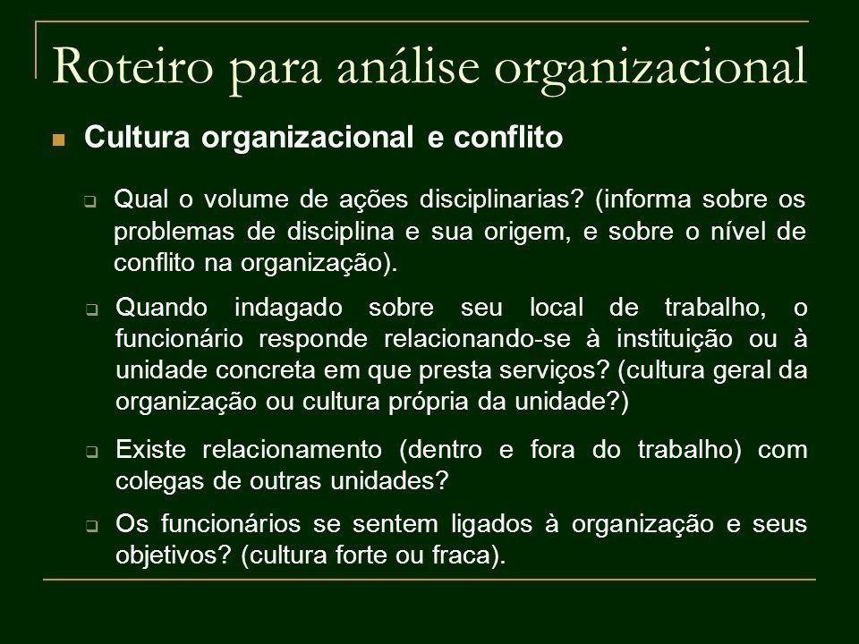 Roteiro para análise organizacional Cultura organizacional e conflito Qual o volume de ações disciplinarias? (informa sobre os problemas de disciplina