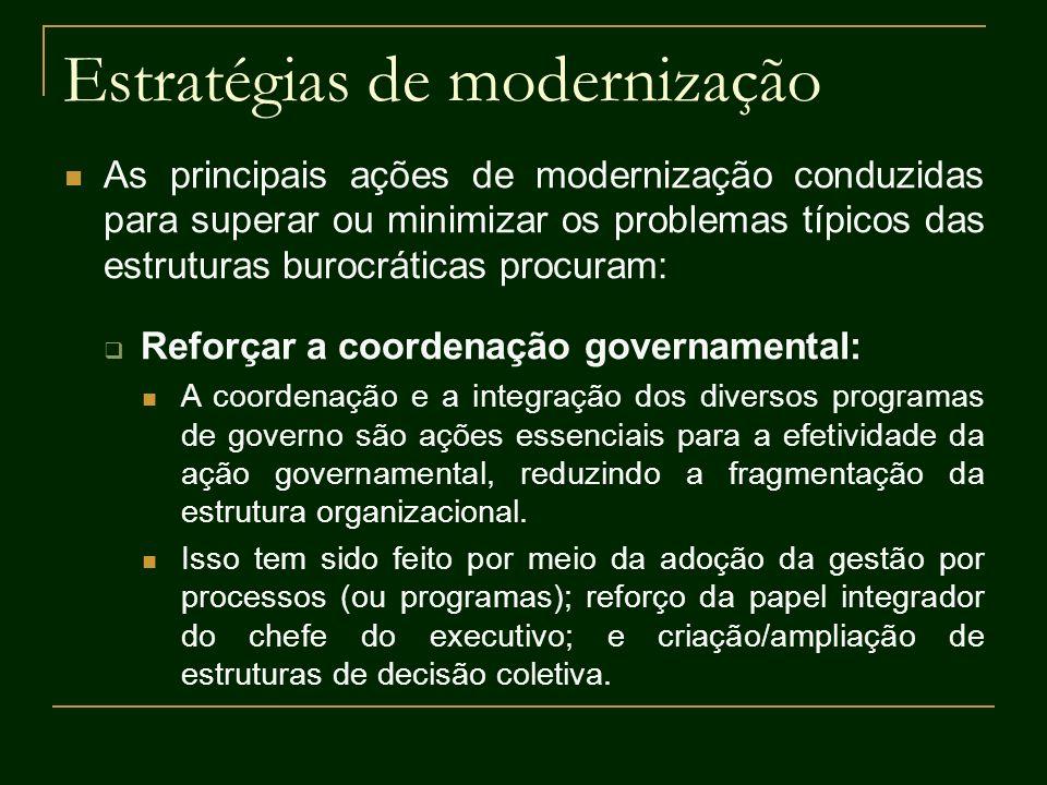 Estratégias de modernização As principais ações de modernização conduzidas para superar ou minimizar os problemas típicos das estruturas burocráticas