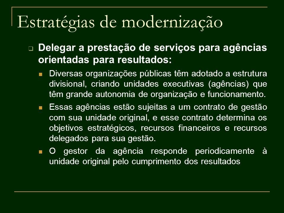 Estratégias de modernização Delegar a prestação de serviços para agências orientadas para resultados: Diversas organizações públicas têm adotado a est