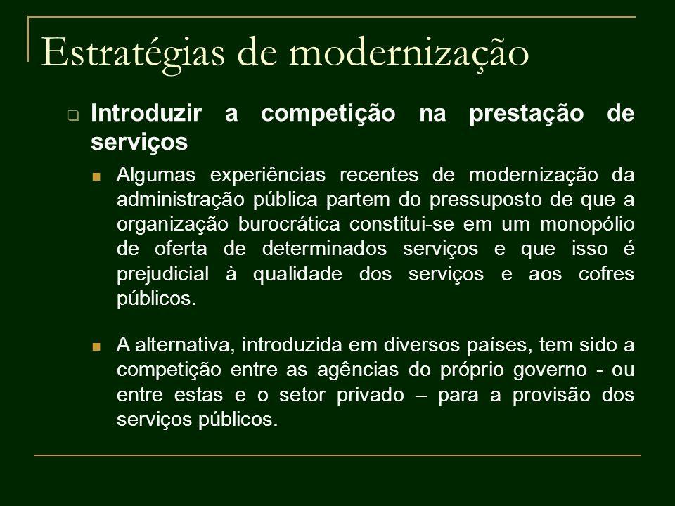 Estratégias de modernização Introduzir a competição na prestação de serviços Algumas experiências recentes de modernização da administração pública pa