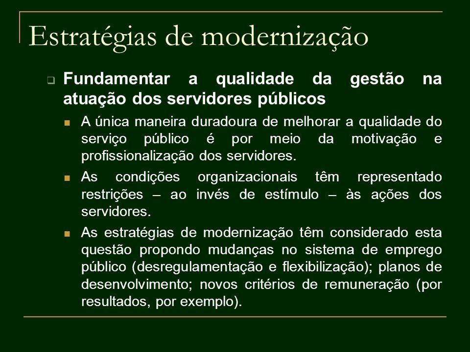 Estratégias de modernização Fundamentar a qualidade da gestão na atuação dos servidores públicos A única maneira duradoura de melhorar a qualidade do