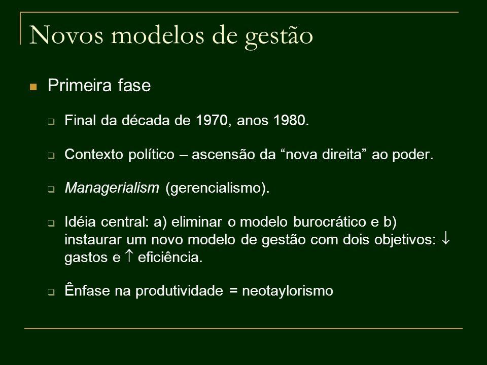 Novos modelos de gestão Primeira fase Final da década de 1970, anos 1980. Contexto político – ascensão da nova direita ao poder. Managerialism (gerenc