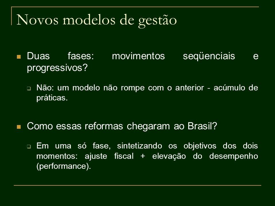 Novos modelos de gestão Duas fases: movimentos seqüenciais e progressivos? Não: um modelo não rompe com o anterior - acúmulo de práticas. Como essas r