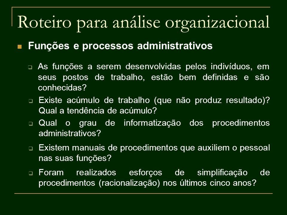 Roteiro para análise organizacional Funções e processos administrativos As funções a serem desenvolvidas pelos indivíduos, em seus postos de trabalho,
