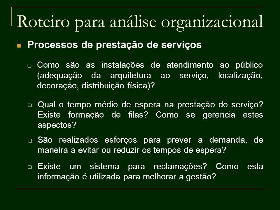 Roteiro para análise organizacional Processos de prestação de serviços Como são as instalações de atendimento ao público (adequação da arquitetura ao