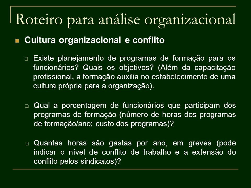 Roteiro para análise organizacional Cultura organizacional e conflito Existe planejamento de programas de formação para os funcionários? Quais os obje