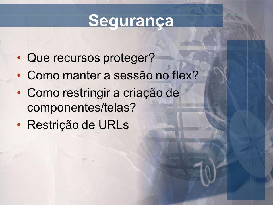 Segurança Que recursos proteger? Como manter a sessão no flex? Como restringir a criação de componentes/telas? Restrição de URLs