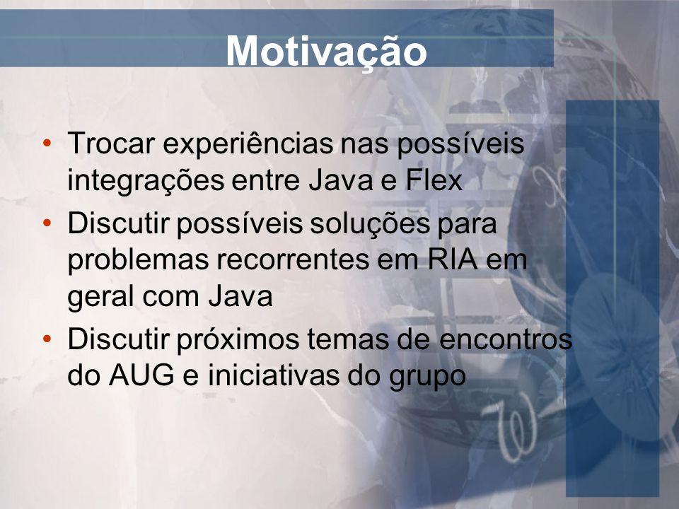 Motivação Trocar experiências nas possíveis integrações entre Java e Flex Discutir possíveis soluções para problemas recorrentes em RIA em geral com J