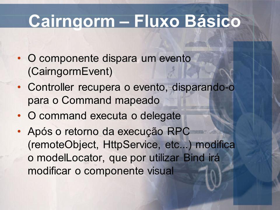 Cairngorm – Fluxo Básico O componente dispara um evento (CairngormEvent) Controller recupera o evento, disparando-o para o Command mapeado O command e