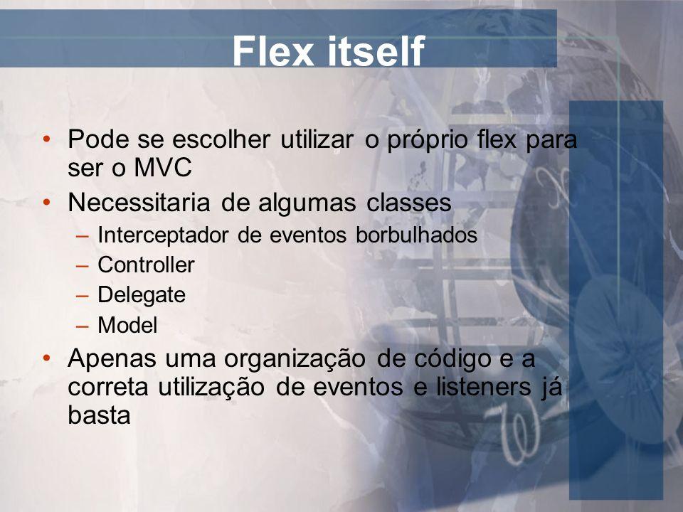Flex itself Pode se escolher utilizar o próprio flex para ser o MVC Necessitaria de algumas classes –Interceptador de eventos borbulhados –Controller