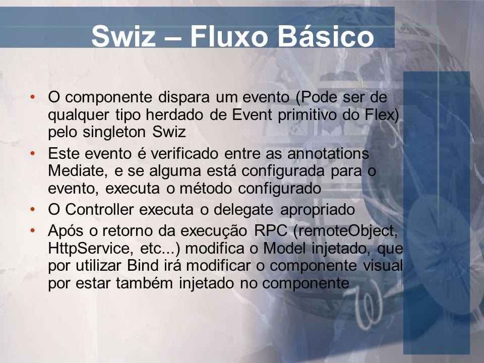 Swiz – Fluxo Básico O componente dispara um evento (Pode ser de qualquer tipo herdado de Event primitivo do Flex) pelo singleton Swiz Este evento é ve