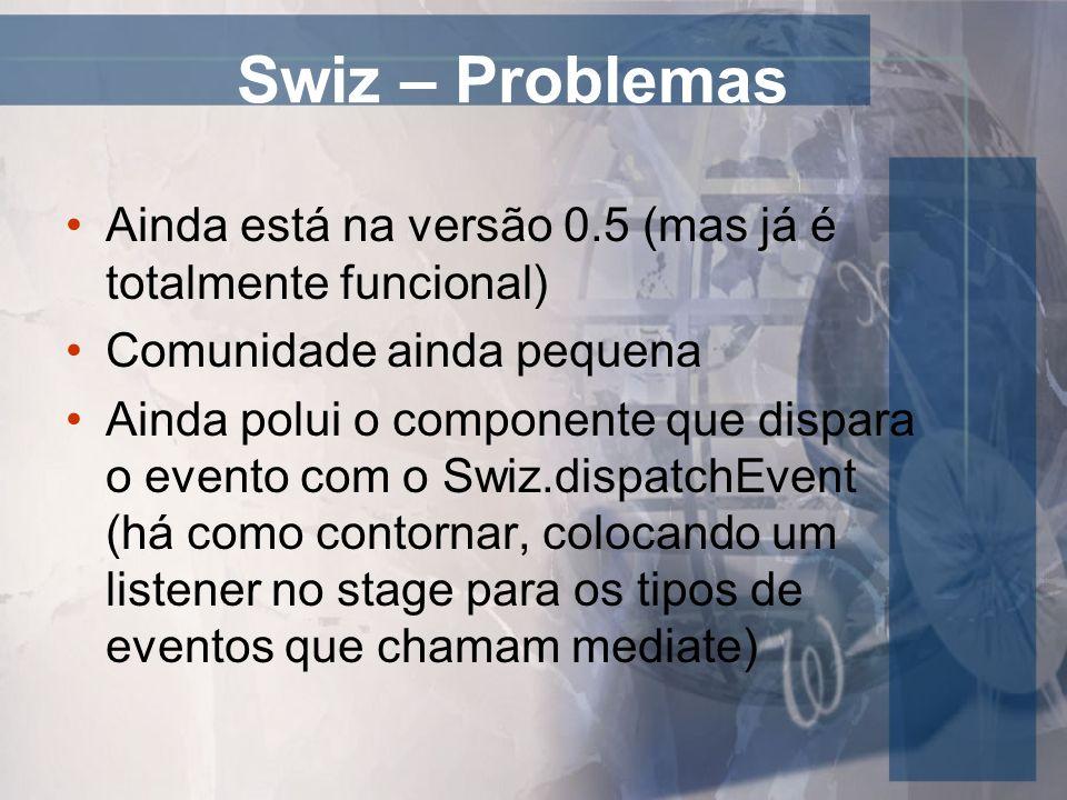Swiz – Problemas Ainda está na versão 0.5 (mas já é totalmente funcional) Comunidade ainda pequena Ainda polui o componente que dispara o evento com o